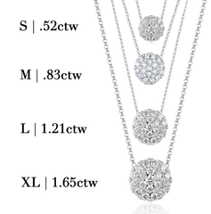 White Gold Round Cluster Pave Diamond Pendant - Various Sizes Available