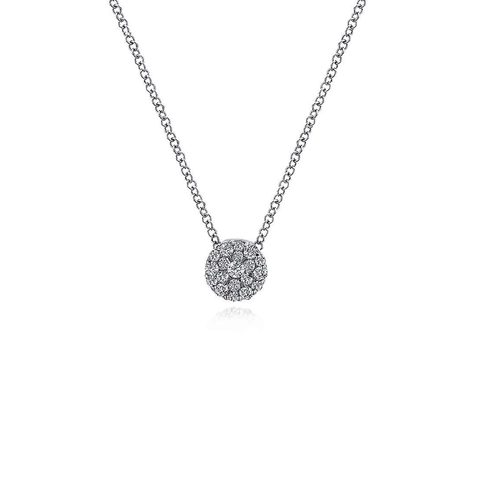 Small Round Diamond Cluster Pendant