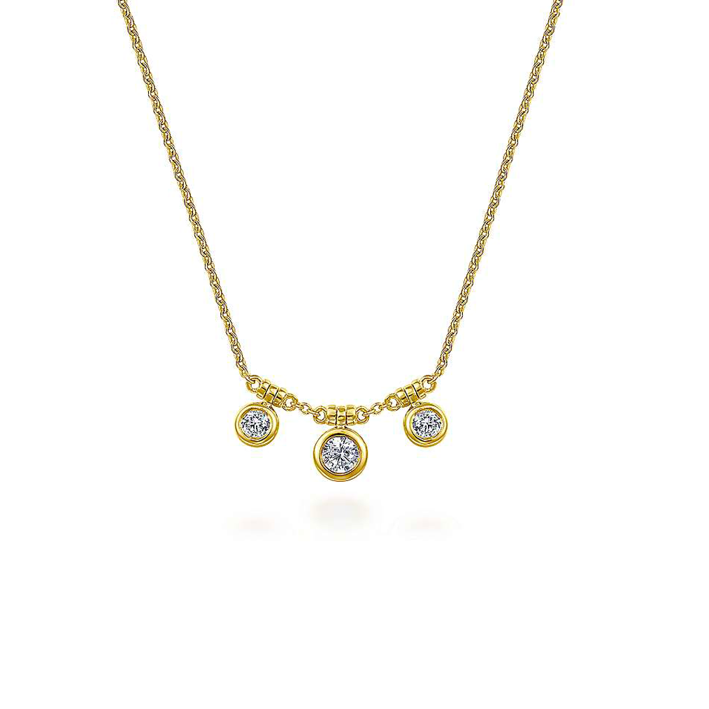 Gold 3 Station Bezel Set Diamond Adjustable Chain Necklace