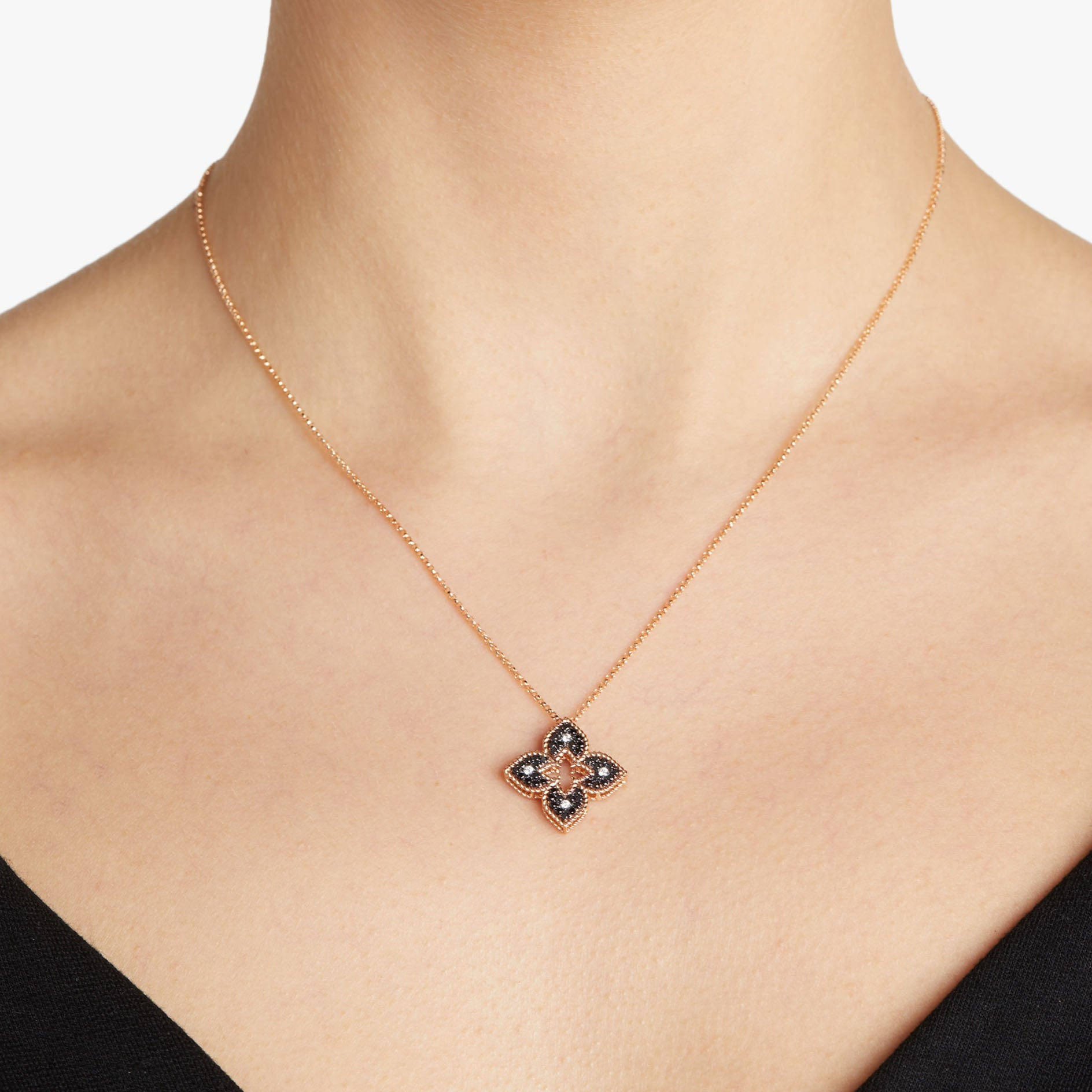 Princess Flower Station Black & White Diamond Pendant Necklace