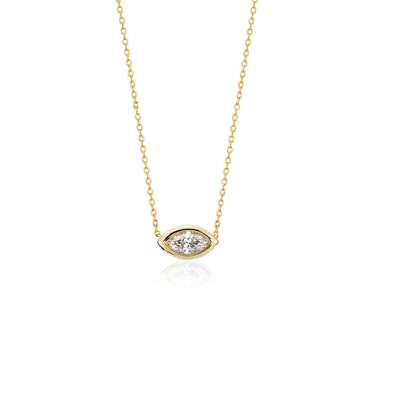 East to West Marquise Bezel Set Diamond Pendant