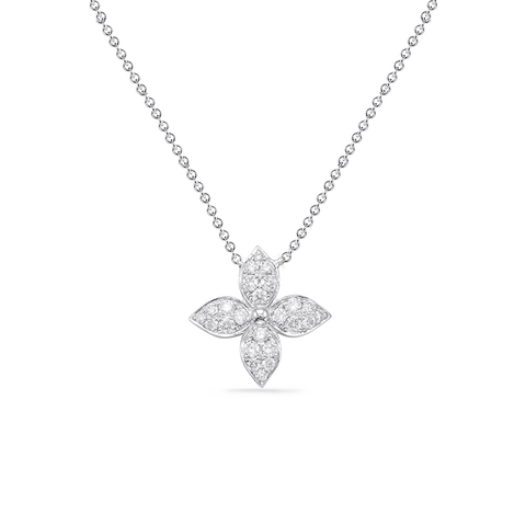 Flower Diamond Pave Station Pendant