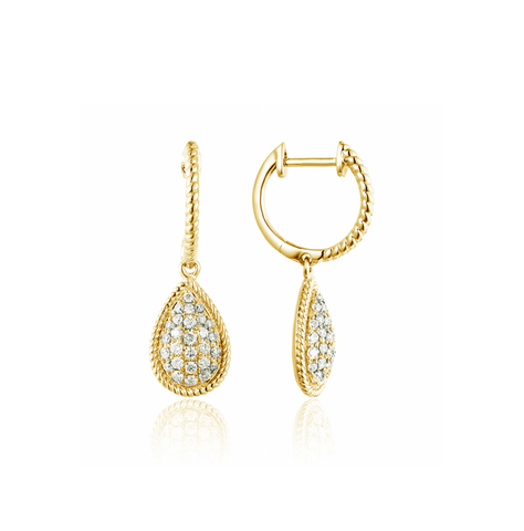 Pear Shape Diamond Pave Braided Edge Drop Earrings