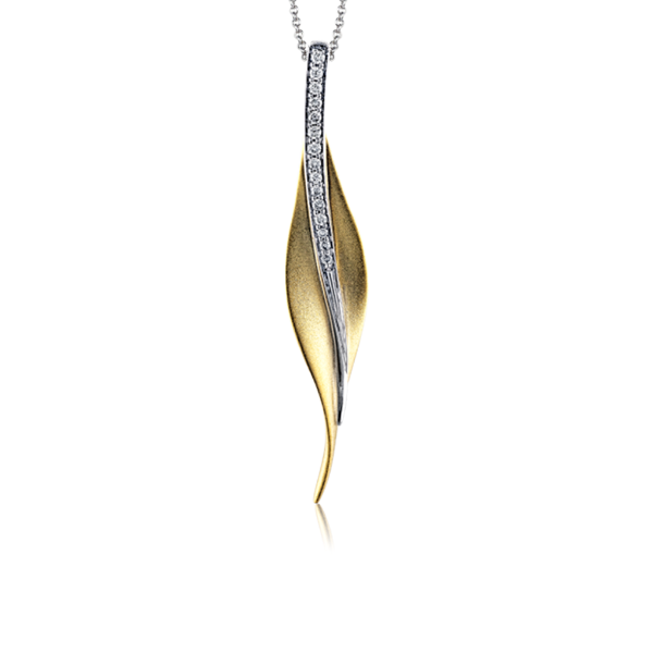 Garden Yellow and White Contemporary Leaf Pendant