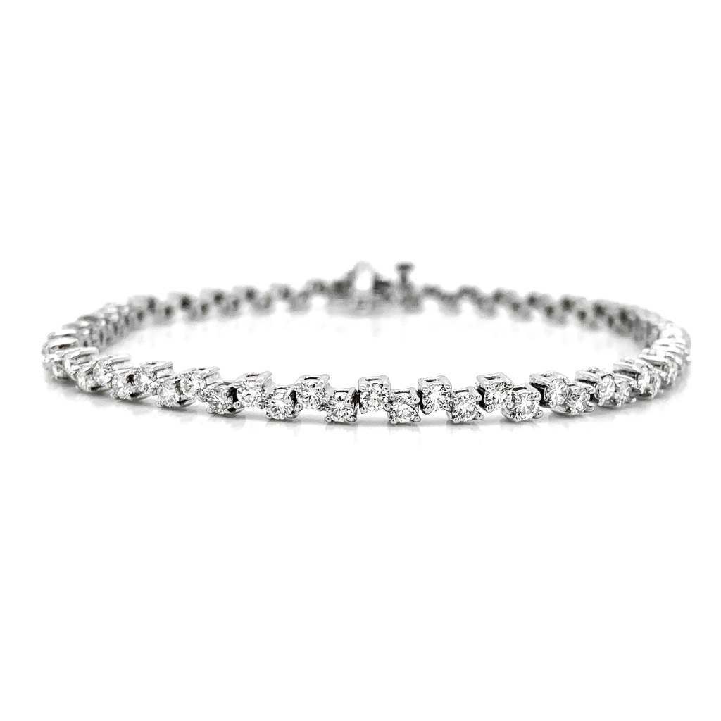 Off Set Alternating Diamond Tennis Bracelet
