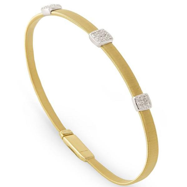 Masai Three Station Diamond Bracelet in Yellow Gold
