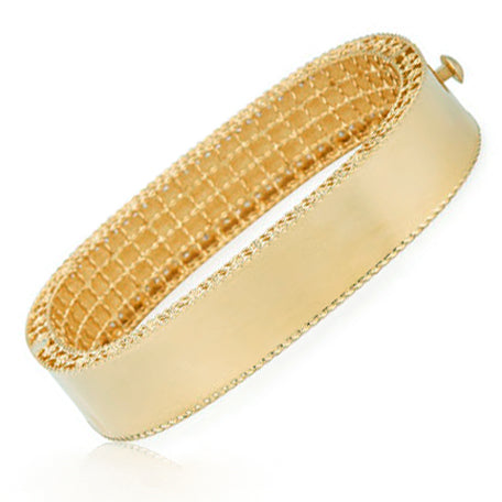 Princess Wide Brushed Diamond Bangle