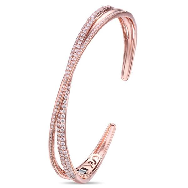 Three Row Rose Gold Crossover Diamond Bracelet