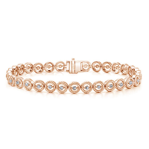 Round Eternity Pave Diamond Tennis Bracelet