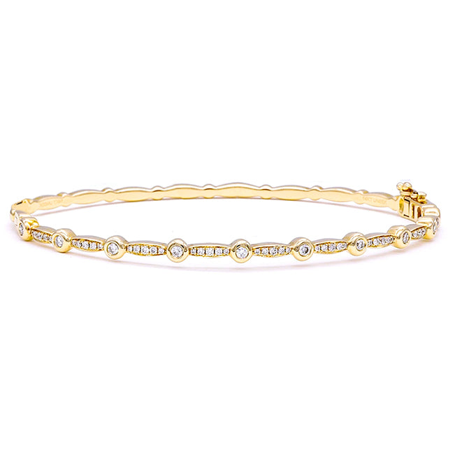 Marquise Pave & Round Bezel Alternating Diamond Bangle
