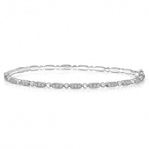 Rectangle Pave & Polished Bead Alternating Diamond Bangle