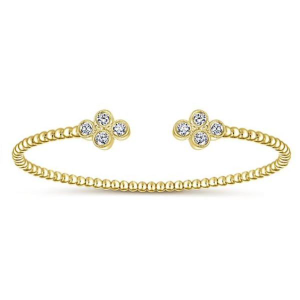 Yellow & Diamond Open Round Bezel Cluster Bangle