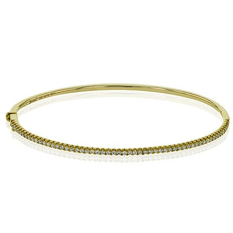 Yellow Thin Classic Diamond Pave Bangle