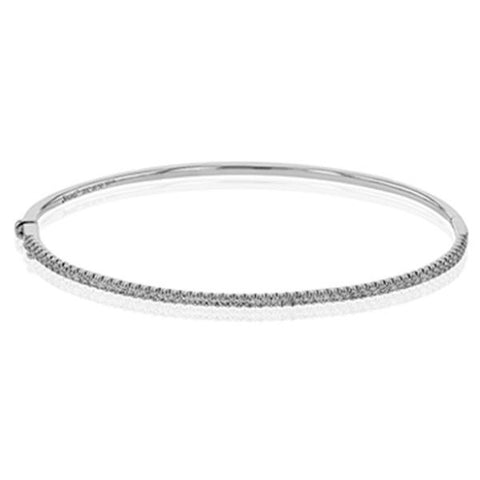 White Thin Classic Diamond Pave Bangle