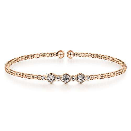 Open Three Station Pave Diamond Bangle