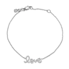 Petite Love Script Chain Diamond Bracelet