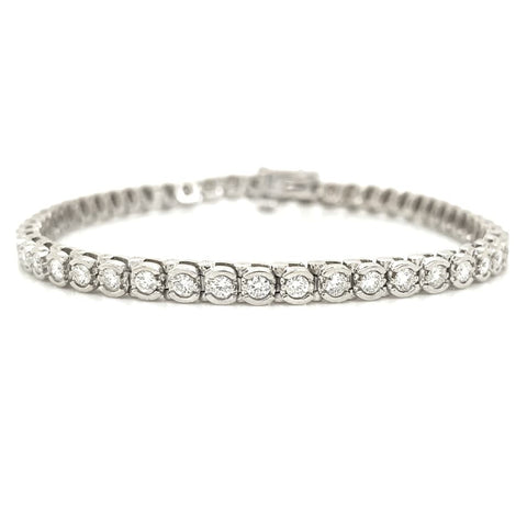 White Gold Half Bezel Set 2.00ctw Diamond Tennis Bracelet