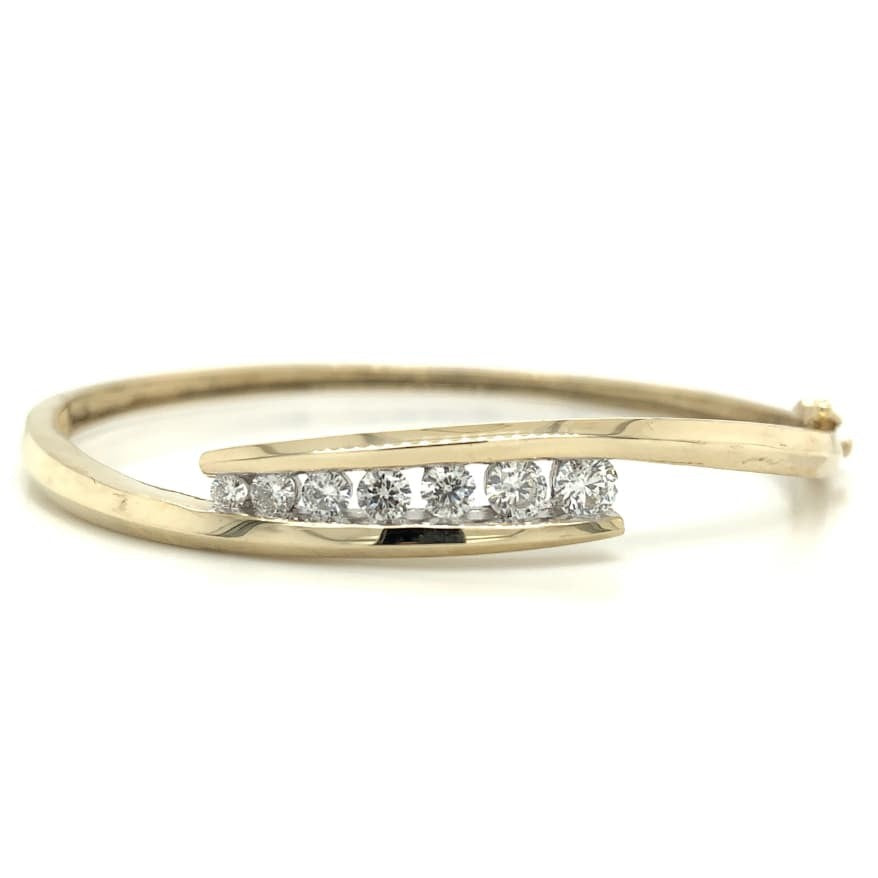Yellow Gold Bypass Channel Set Bangle