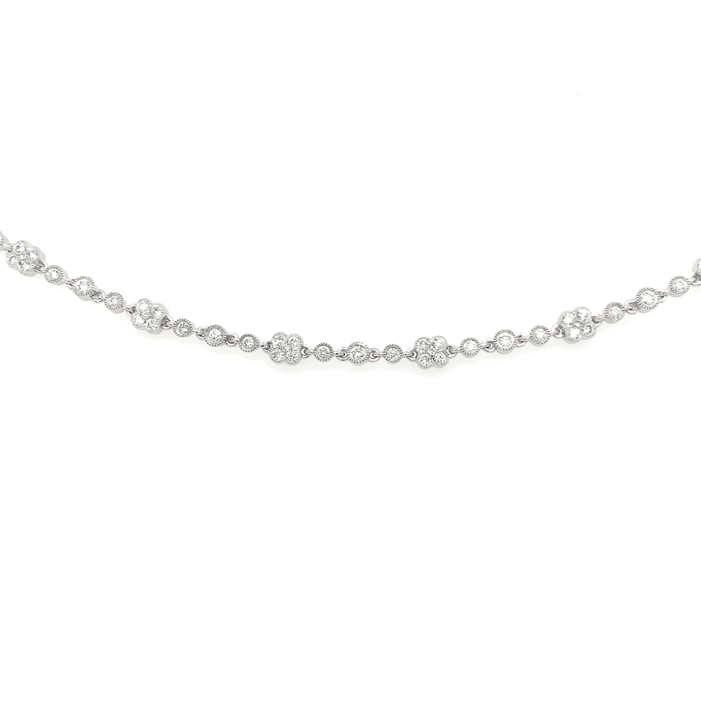 White Gold Pave Bezel Flower Station Diamond Bracelet