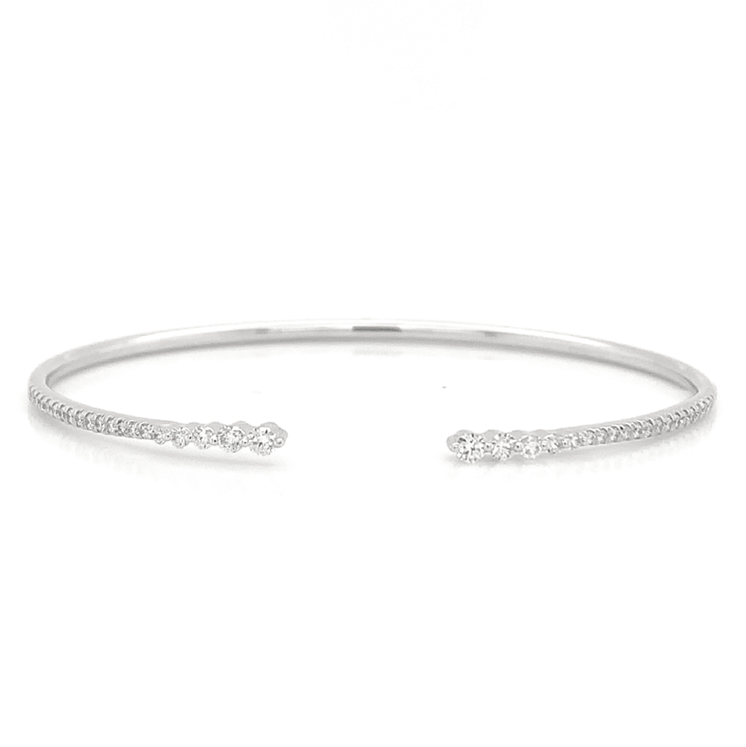 Open Graduated Prong Set Pave Diamond Bangle
