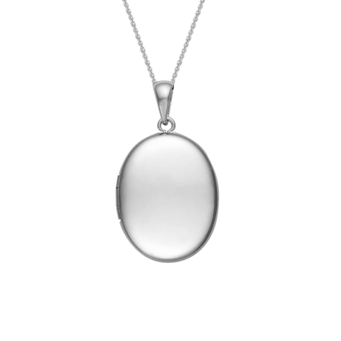 25mm Plain Engravable Oval Locket Pendant in Sterling Silver