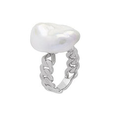 Large Pearl Chain Link Ring