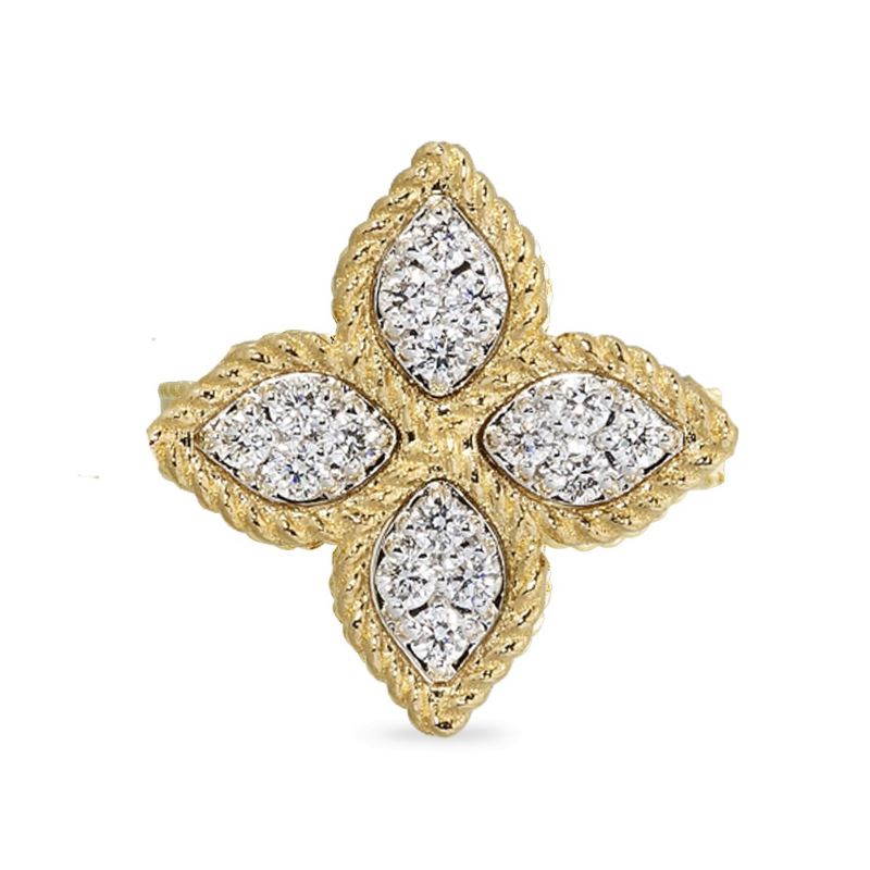 Princess Flower Yellow Gold Ring with Diamonds