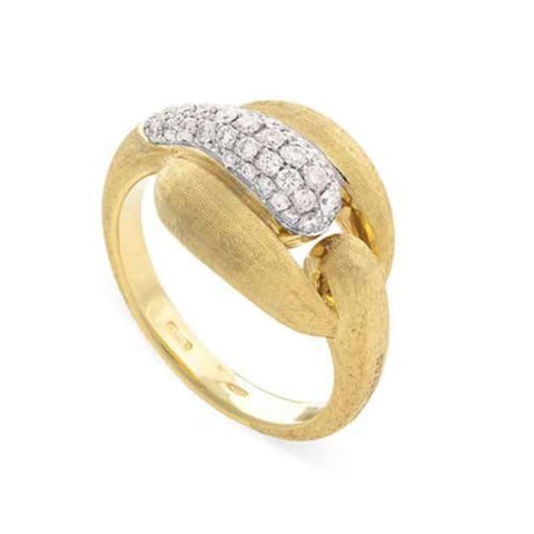 Yellow & White Gold Lucia Pave Buckle Ring