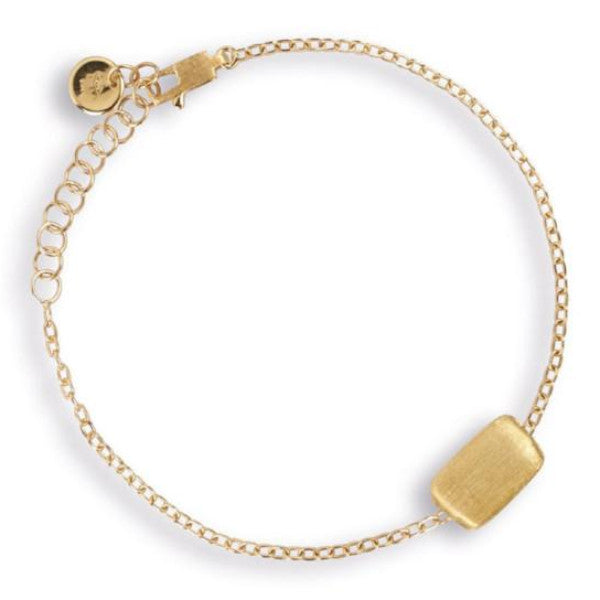 Delicati Yellow Gold Rectangle Single Station Bracelet