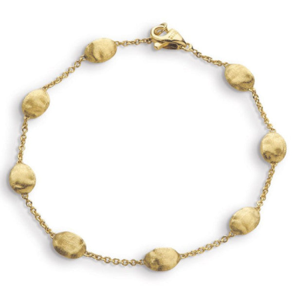 Siviglia Yellow Gold Oval Bead Station Bracelet