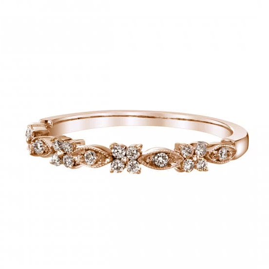 Flower Marquise Alternating Milgrain Diamond Band