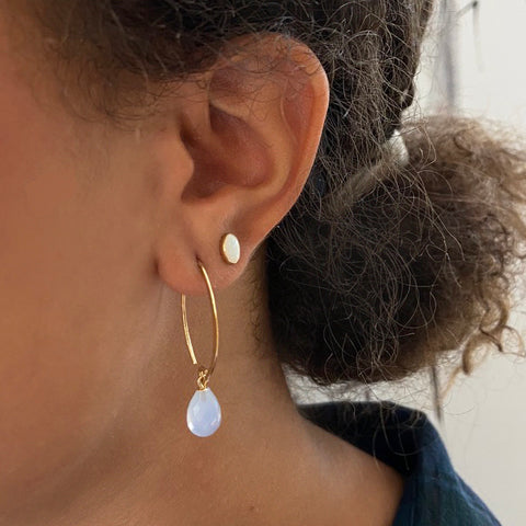 Mini Opal Oval Gold Stud Earrings