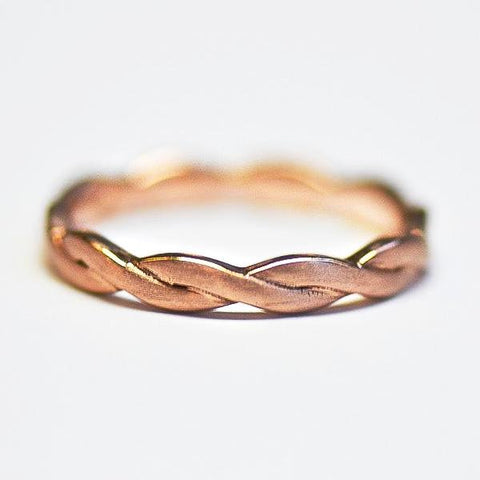 Rose Brushed Finished Twist Eternity Band