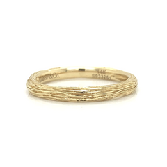 Yellow Gold Bark Textured Plain Band