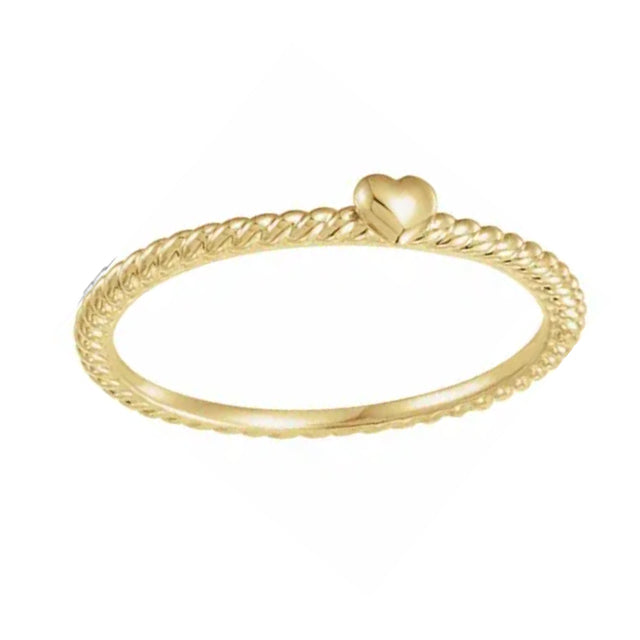 Petite Twist Heart Stackable Band