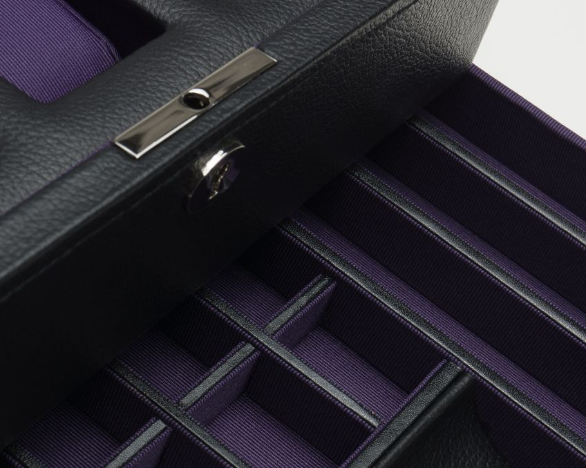 WINDSOR 10 PIECE WATCH BOX WITH DRAWER - BLACK & PURPLE