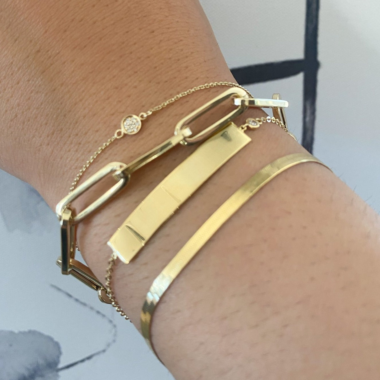 Chunky 6.1mm Paper Clip Gold Chain Bracelet