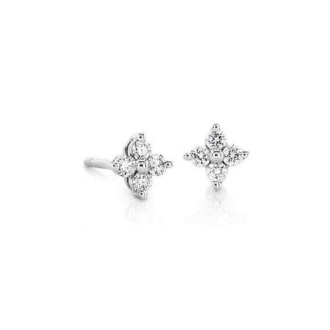 Petite 4 Stone Floral Diamond Stud Earrings