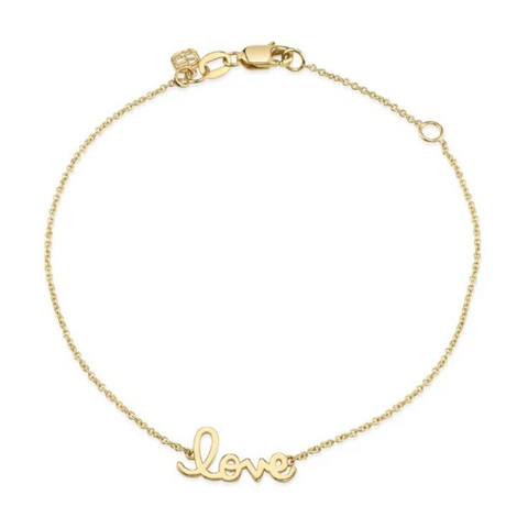 "Tiny Plain ""Love"" Chain Bracelet"