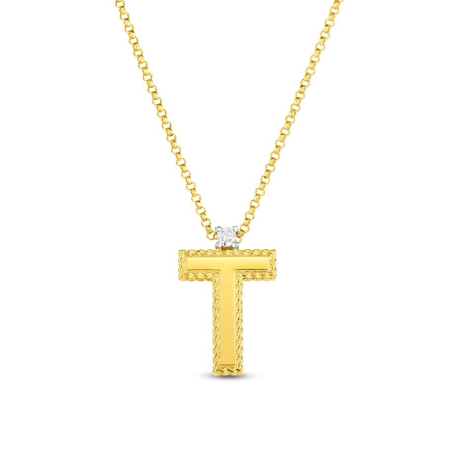 18K Block Letter Princess Initial Diamond Pendant