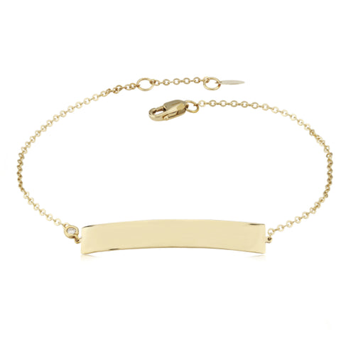 Engravable Delicate Diamond Accent Rectangle Bar Chain Bracelet