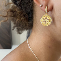 Circle Cut Out Floral Medallion Diamond Pave Drop Earrings