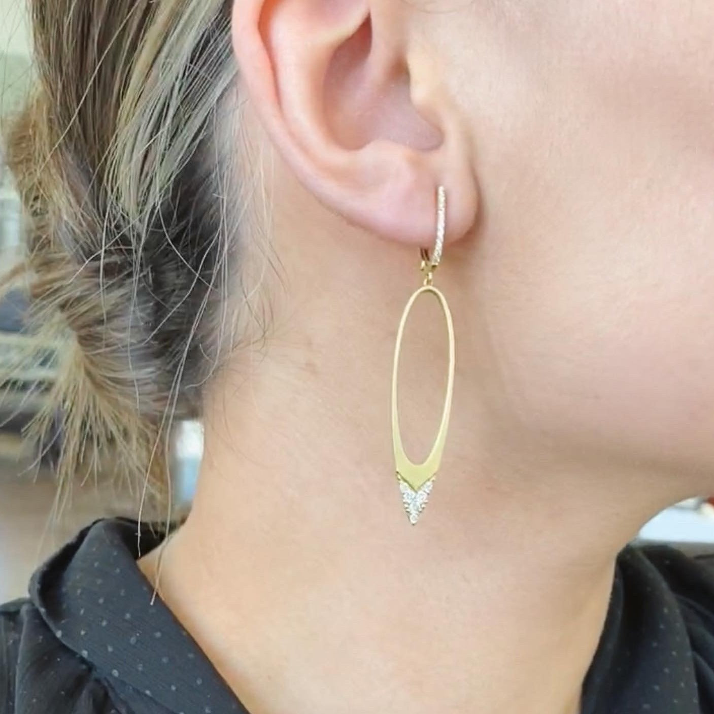 Yellow Open Oval Dangle Earrings