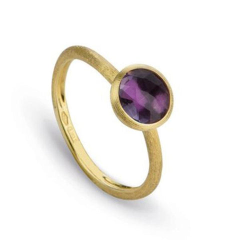 Jaipur Yellow Gold & Rose Cut Cushion Amethyst Stackable Ring