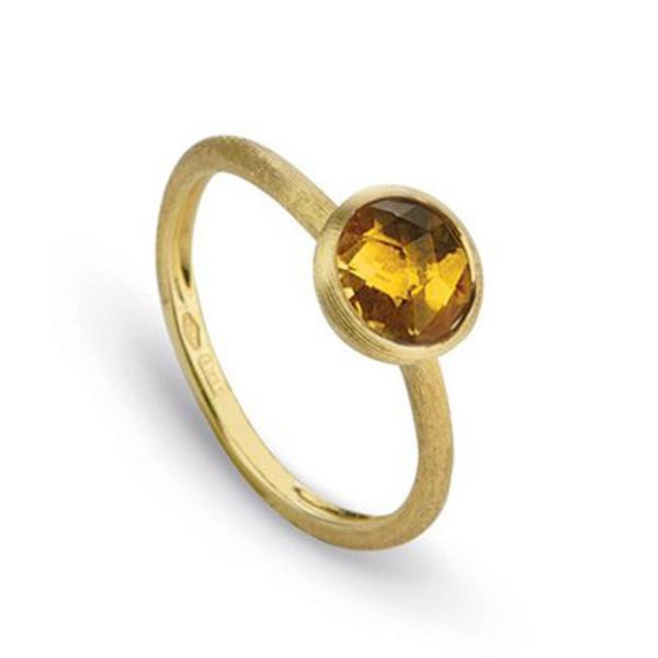 Jaipur Yellow Gold & Rose Cut Cushion Citrine Stackable Ring