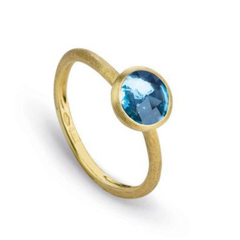 Jaipur Yellow Gold & Rose Cute Cushion Blue Topaz Stackable Ring