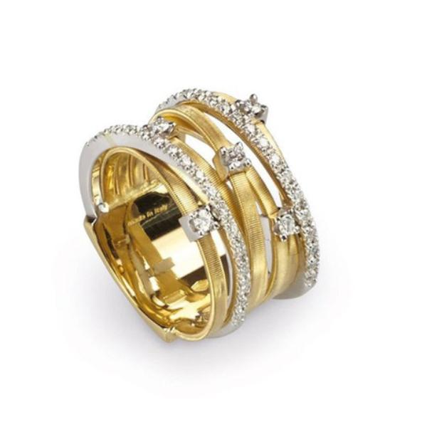 Goa Yellow Gold Seven Strand Diamond & Pave Ring