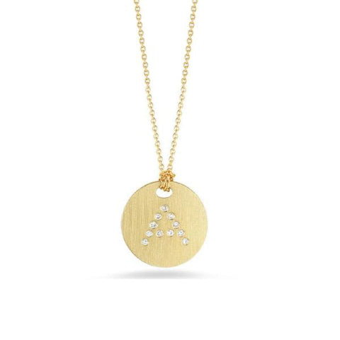 "Yellow Disc with Diamond Initial ""A"" Pendant"