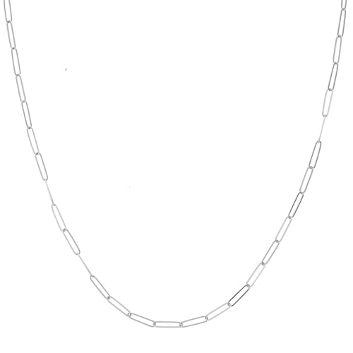 Delicate Handmade Solid 2.6mm Paper Clip Link Chain Necklace