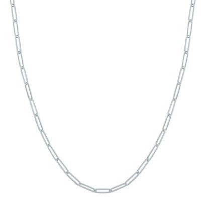 Delicate Handmade Hollow 3.9mm Paper Clip Link Chain Necklace